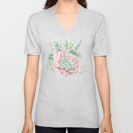 Pink Succulent by Nature Magick Unisex V-Neck