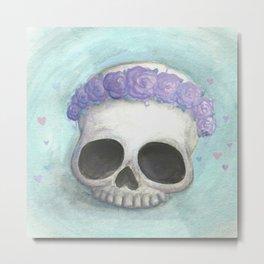 Flower Crowned Skull Metal Print