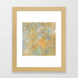 gold arabesque vintage geometric pattern Framed Art Print