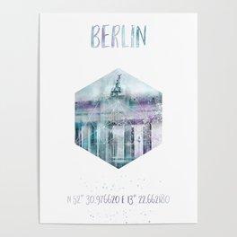 Coordinates BERLIN Brandenburg Gate | jazzy watercolor Poster