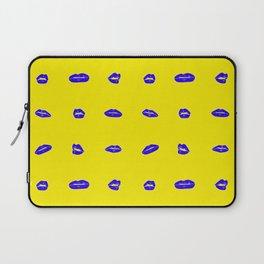 Yellow lips on blue Laptop Sleeve