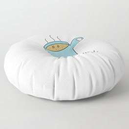 Latt-hey a cute latte coffee with a smile Floor Pillow