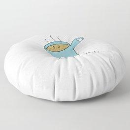 Latt-hey a cute latte coffee with a smile Floor Pillow