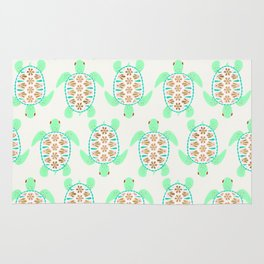 Sea turtle green pink and metallic accents Rug