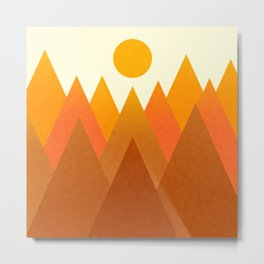 Modern Warming Abstract Geometric Mountains Landscape with Rising Sun in Hot Autumnal Ochre Colors Metal Print