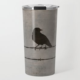 Rustic Black Bird Barbed Wire Modern Country Home Decor Art Matted Picture A476 Travel Mug