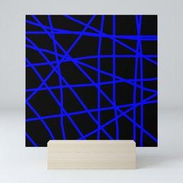 Doodle (Blue & Black) Mini Art Print