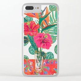 Tropical Hibiscus Bouquet Clear iPhone Case