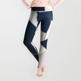 Navy Blue Blush White Gold Geometric Glam #1 #geo #decor #art #society6 Leggings