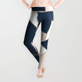 Navy Blue Blush White Gold Geometric Glam #1 #geo #decor #art #society6 Leggings