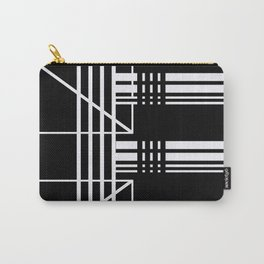 Geometry Lines Pattern, White Lines Abstract Geometry Carry-All Pouch