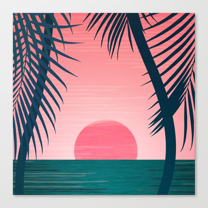 Tropical Sunset Scene - Pink and Emerald Palette Canvas Print