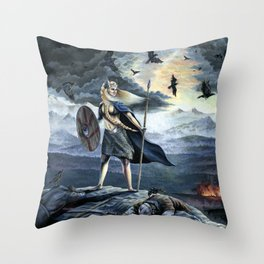 Valkyrie and Crows Throw Pillow