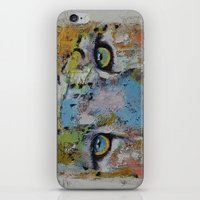 snow leopard iPhone & iPod Skins featuring Leopard by Michael Creese