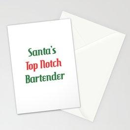 Santa's Top Notch Bartender Mixologist T-Shirt Stationery Cards