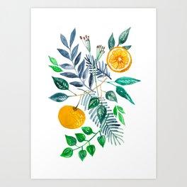 Painted watercolor oranges in nature Art Print