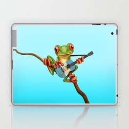 Tree Frog Playing Acoustic Guitar with Flag of Guatemala Laptop & iPad Skin