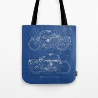 blueprint Tote Bags featuring Motorcycle blueprint by marcusmelton