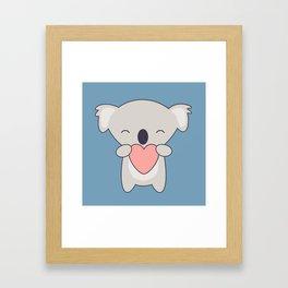 Kawaii Cute Koala With Heart Framed Art Print