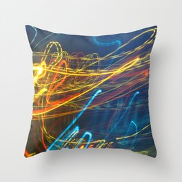 Abstract City Night - Light Painting Throw Pillow