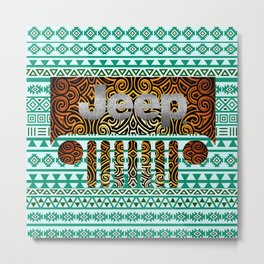 Aztec Jeep Pattern Metal Print