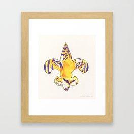 Fleur De Lis LSU Tiger Framed Art Print