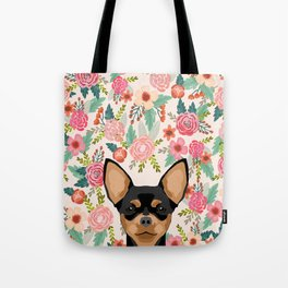 Chihuahua dog floral pet pure breed gifts for chihuahua black and tan Tote Bag