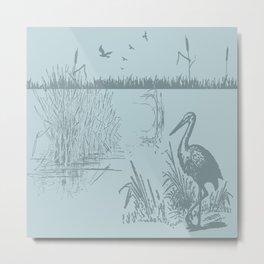 Oriental Exotic Heron & Birds on a Lake Print Metal Print