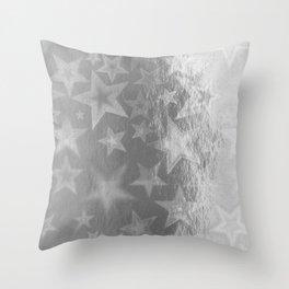 Silver Starshine Throw Pillow