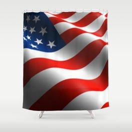 Patriotic US Waving Flag  Shower Curtain