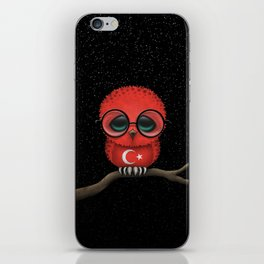 Baby Owl with Glasses and Turkish Flag iPhone Skin