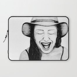 So Amused! Expressions of Happiness Series -Black and White Original Sketch Drawing, pencil/charcoal Laptop Sleeve