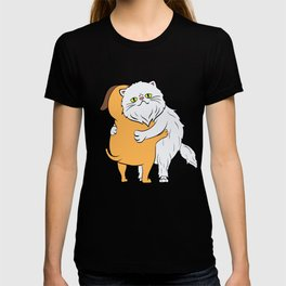 Persian Cat Hugging A Dog Perfect Gift for Cat Lovers A Persian Cat Tee T-shirt Design Kitty T-shirt