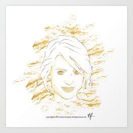 Chalk Beauty #1 (gold recolor) Art Print