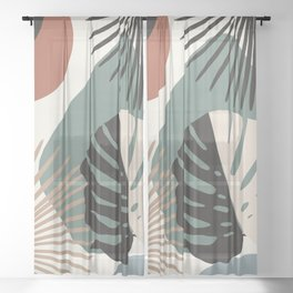Minimal Yin Yang Monstera Fan Palm Finesse #1 #tropical #decor #art #society6 Sheer Curtain