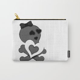 Skull Lace  - Crossbones Heart Illustration Carry-All Pouch