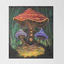 A Mushroom World Throw Blanket