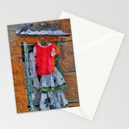 Clothes hanging to dry outside a window - painterly artwork Stationery Cards