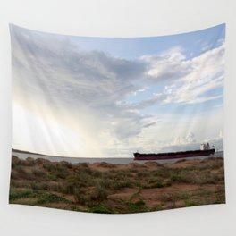Ore Ship off Spoil Bank - Clouds Wall Tapestry