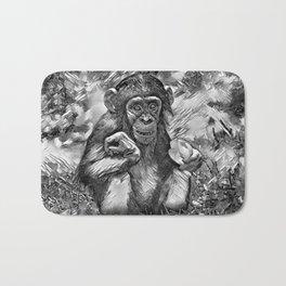 AnimalArtBW_Chimpanzee_20170603_by_JAMColorsSpecial Bath Mat