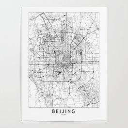 Beijing White Map Poster
