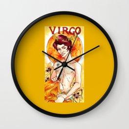 Virgo - Art Nouveau Zodiac Wall Clock