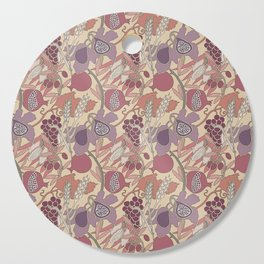 Seven Species Botanical Fruit and Grain in Mauve Tones Cutting Board
