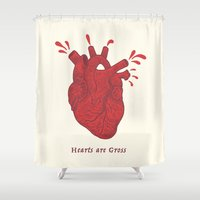 gore Shower Curtains featuring Hearts are Gross by Andrew Henry