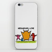 keith haring iPhone & iPod Skins featuring Keith Haring & The neighbours by le.duc