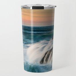 Cape Perpetua Ocean Waterfall Sunset Travel Mug