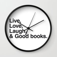 Live Love Laugh and Good Books Wall Clock