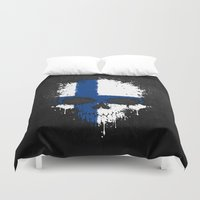 finland Duvet Covers featuring Flag of Finland on a Chaotic Splatter Skull by Jeff Bartels