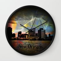 new orleans Wall Clocks featuring New Orleans by Kelly King