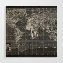 Black and White Vintage World Map Wood Wall Art